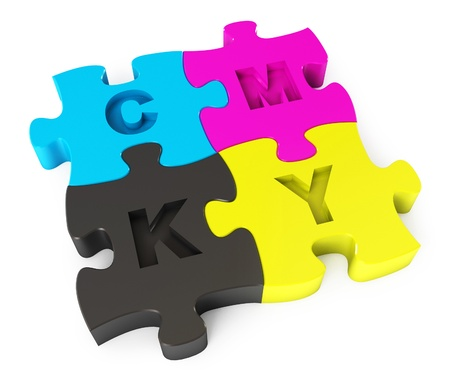 publisher: Cmyk puzzle, Isolated on white background, 3d render