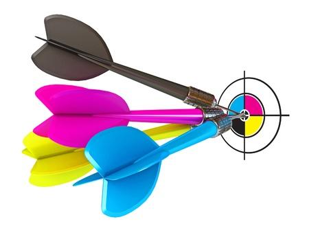 Darts hitting directly in bulls eye, CMYK, Conceptual