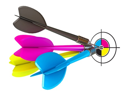 offset: Darts hitting directly in bulls eye, CMYK, Conceptual
