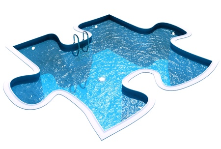 basin: Pool in the form of a puzzle, 3d render