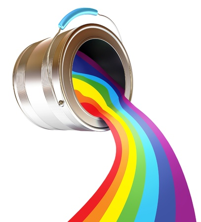 paint swatch: Paint is poured from a can, Rainbow, 3d render