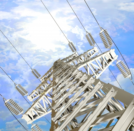 Power Transmission Line, High-voltage tower sky background photo