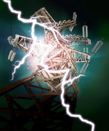 megawatts: Power Transmission Line, Lightning strike, Crash Stock Photo