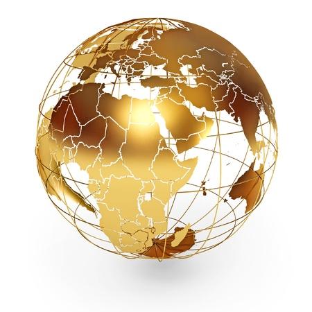 zeměkoule: Zlatý glóbus, ikona na bílém pozadí, 3d render Reklamní fotografie
