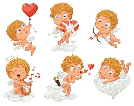 Cupido vola in un palloncino a forma di cuore, germogli inchinano