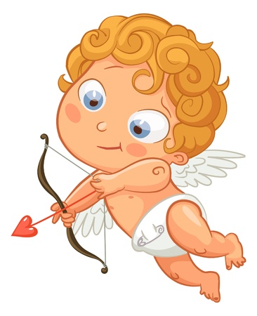 Funny little cupid aiming at someone, Valentines Day Vector