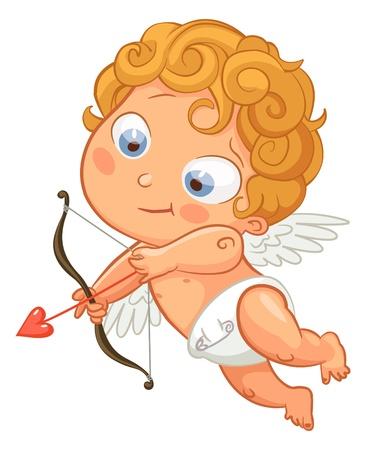 angeles bebe: Funny little cupid con el objetivo de alguien, D�a de San Valent�n Vectores