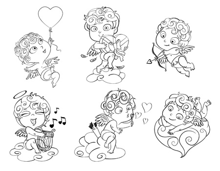 cupid: Cupid playing music on the lyre, blow bubbles, Coloring book Illustration