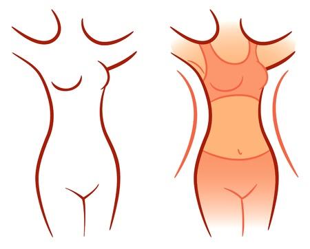 how: Chica mostrando cu�nto peso perdi�, ilustraci�n vectorial