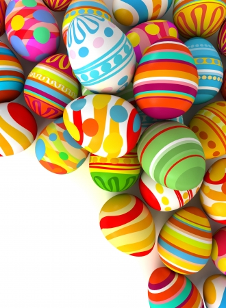 Happy Easter. Easter eggs with plenty of copy-space for text. Conceptual illustration. Isolated on white background. 3d render illustration