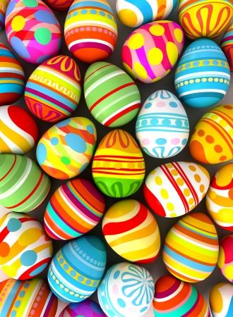 Vrolijk Pasen. Achtergrond met beschilderde eieren. Conceptuele illustratie. 3d render