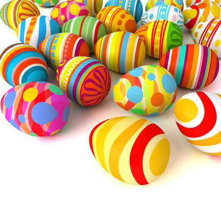 group objects: Happy Easter. Pile of eggs. Conceptual illustration. Isolated on white background. 3d render