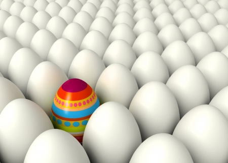 Happy Easter. One hand-painted egg. Pile white eggs. Conceptual illustration. 3d render illustration