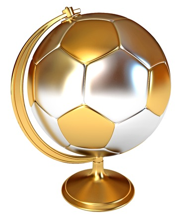 Gold Cup winner as a soccer ball and globe. Conceptual illustration. Isolated on white background. 3d render illustration