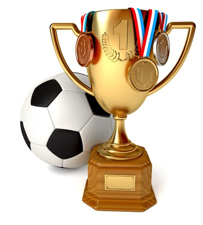sports activities: Gold Cup with medals and soccer ball. Conceptual illustration. Isolated on white background. 3d render