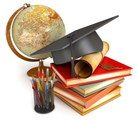 birrete: Casquillo de la graduación, diploma, pila de libros, globo y varios lápices de colores en la taza. Ilustración conceptual. Aislado en el fondo blanco. 3d