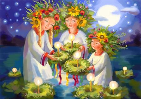 Zomerzonnewende. Midsummer Day. Ivan Kupala. Heidense feestdag. Hand-tekening