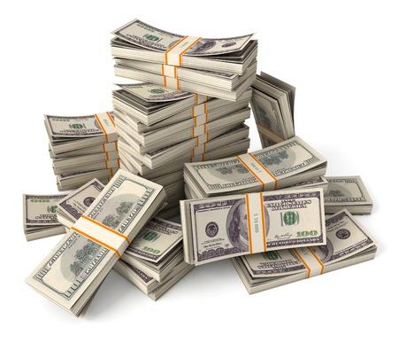 ドルのスタック。概念図。白い背景で隔離されました。3 d のレンダリング 写真素材