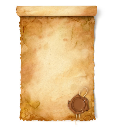 vintage scroll: Old paper scroll with wax seal. Conceptual illustration. Isolated on white background. 3d render
