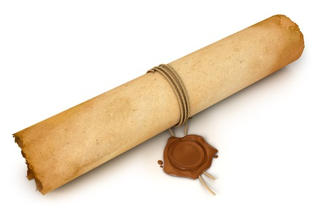 Old Scroll paper with wax seal. Conceptual illustration. Isolated on white background. 3d render