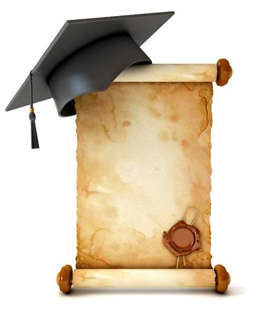 fondo de graduacion: Tapa de graduación y diploma. Unfurled un antiguo pergamino con sellos de cera. Ilustración conceptual. Aislado en el fondo blanco. 3d