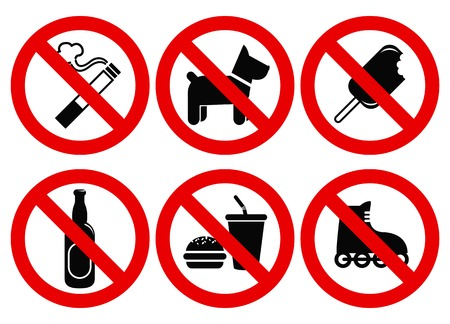 Set prohibited signs. Supermarket symbols photo