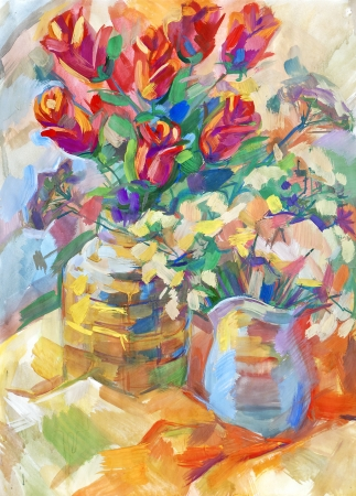 Still life a bouquet of flowers. Hand-drawn in gouache Stock Photo