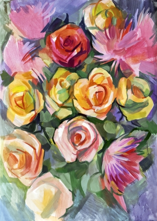 smeared hand: Still life a bouquet of flowers. Hand-drawn in gouache Stock Photo