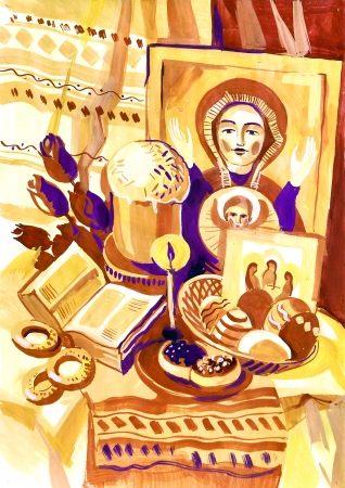 smeared hand: Easter still life with an icon. Hand-drawn in gouache