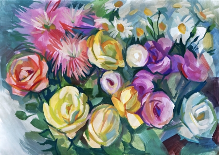 tempera: Still life a bouquet of flowers. Hand-drawn in gouache Stock Photo