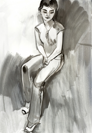 beauty spot: Sketch of a female figure. Hand-drawing in gouache Stock Photo