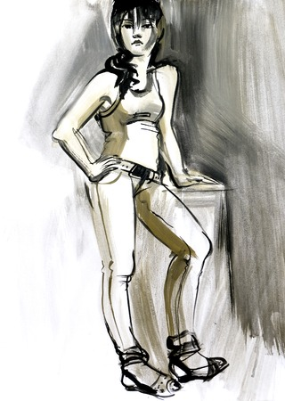 Sketch of a female figure. Hand-drawing in gouache photo