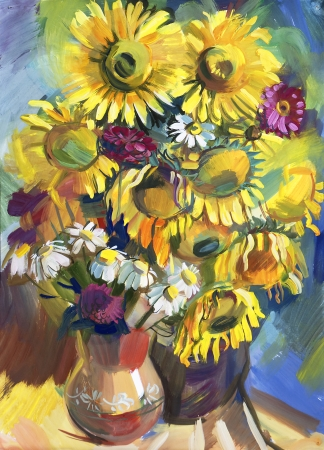smeared hand: Sunflower. Still life a bouquet of flowers. Hand-drawn in gouache