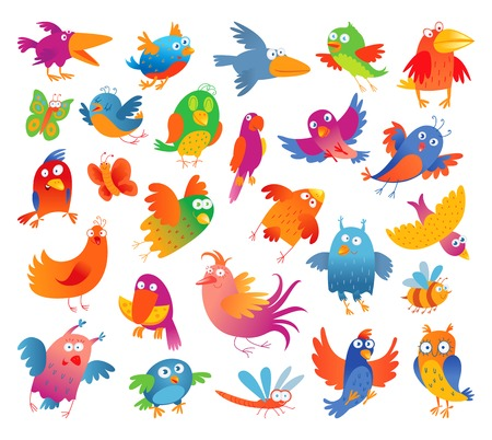 Funny colorful birdies  Vector illustration  Isolated on white background  Set