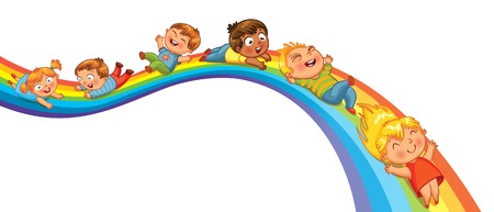 Children ride on a rainbow  Vector illustration  Isolated on white background