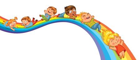 arcoiris caricatura: Paseo de los niños en un arco iris ilustración vectorial aislado sobre fondo blanco