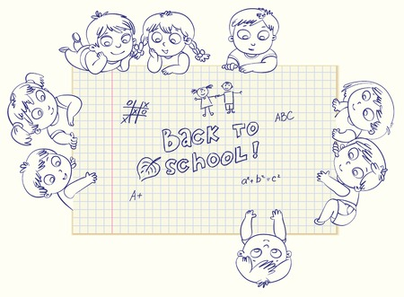 Cute little kids show a blank exercise book for your text entry  Vector illustration