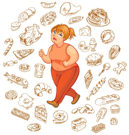 Fat woman dreams of high-calorie foods, goes for a jog  Vector illustration  Isolated on white background