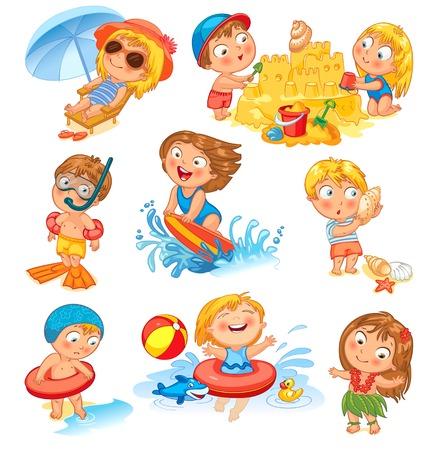 enfant maillot de bain: Les vacances d'�t� mignonne petite fille dans un maillot de bain au soleil sur la plage