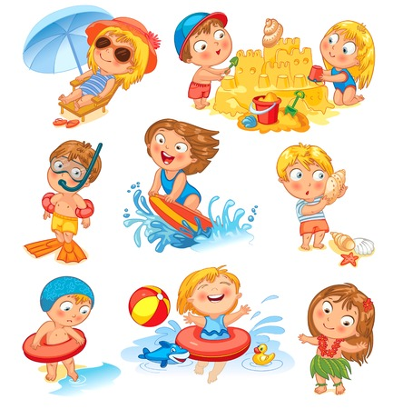 surfing beach: Summer vacation  Cute little girl in a bathing suit sunning on the beach Illustration