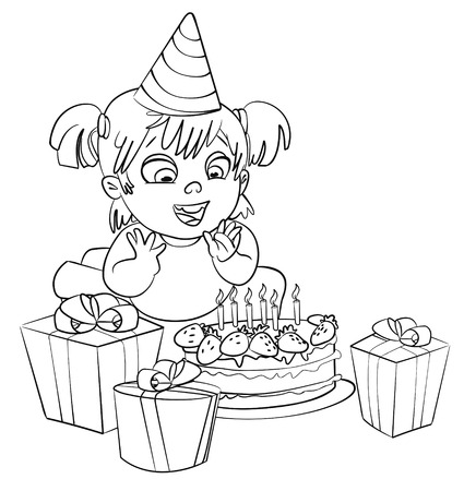 Little girl having fun celebrating her birthday  Lots of gifts and cake  Coloring book  Vector illustration  Isolated on white background Vector