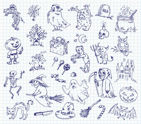 Freehand drawing halloween on a sheet of exercise book. Vector illustration. Set Vector