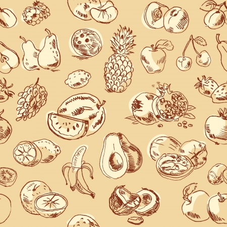 freehand drawing: Freehand drawing fruit. Vector illustration. Seamless pattern