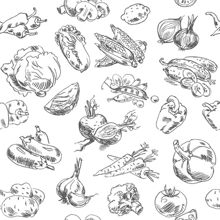 Freehand drawing vegetables. Vector illustration. Seamless pattern. Isolated on white background Vector