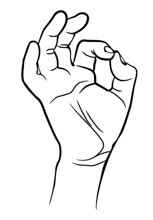 ok hand: Man hand showing ok sign. Vector illustration. Isolated on white background Illustration