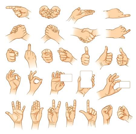 Handen in verschillende interpretaties. Vector illustratie. Geïsoleerd op witte achtergrond