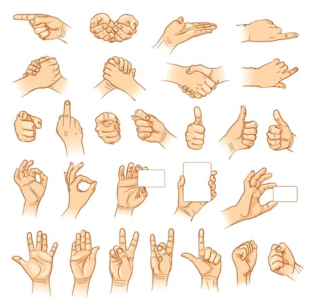 gesturing: Hands in different interpretations. Vector illustration. Isolated on white background