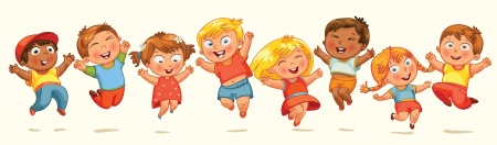 cute cartoon boy: Children jump for joy. Banner. Vector illustration. Isolated on white background