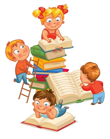 아이들은 도서관에서 책을 읽고. 벡터 일러스트 레이 션. 흰색 배경에 고립