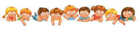 preescolar: Niños pequeños lindos sobre un fondo blanco. Mostrar un cartel en blanco para el ingreso de texto. Banner. Ilustración del vector. Aislado Vectores
